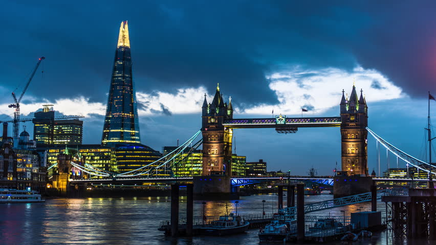 4k Ultra HD timelapse of tower bridge and the shard in London England