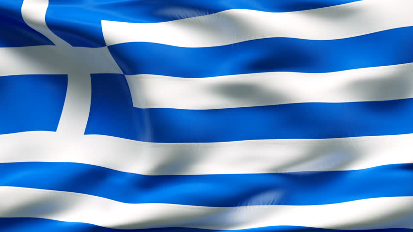 Creased Greek satin flag with visible wrinkle and seams - HD stock footage clip