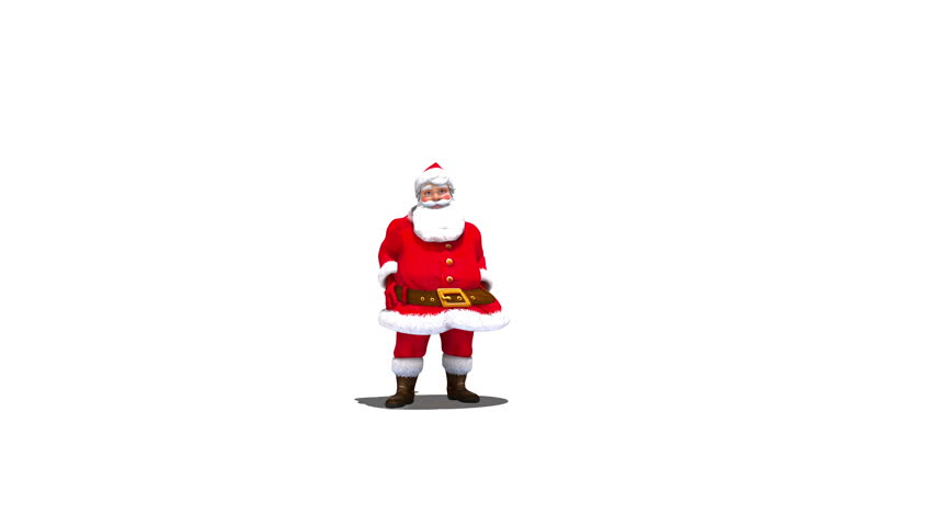 Santa throws snowball into camera against white, transition, with alpha 4k version