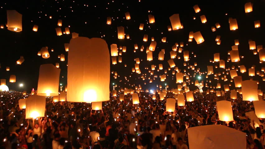 Many Sky Lanterns Floating In Loi Krathong Festival Of Chiang Mai Thailand