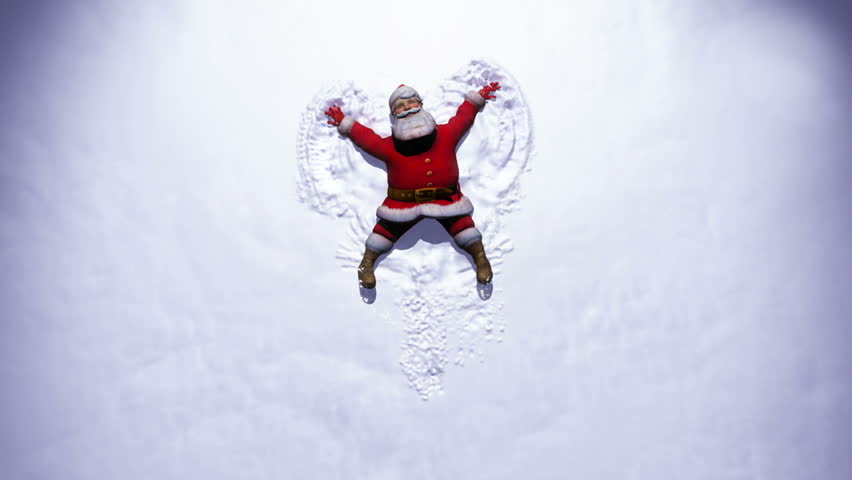Santa Clause makes a Snow Angel with Merry Christmas text