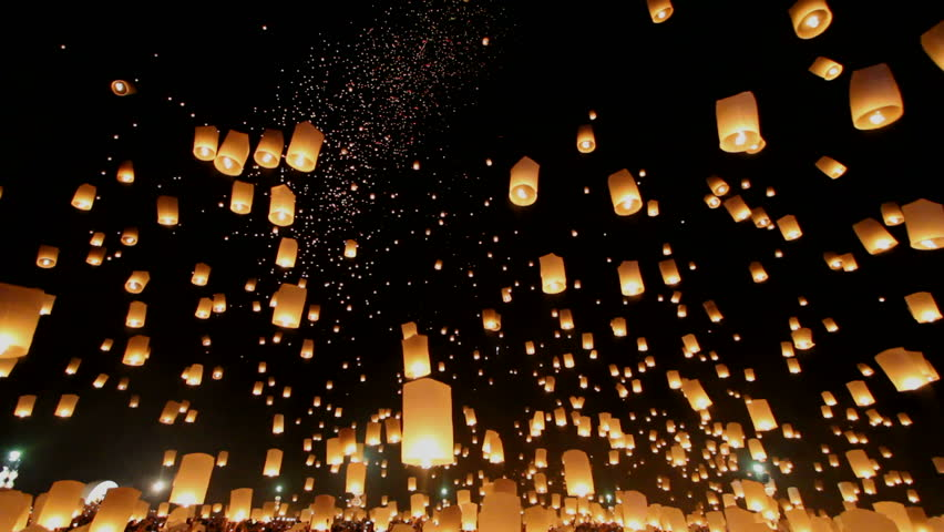 Floating lanterns in Yee Peng Festival, Loy Krathong celebration in Chiangmai, Thailand. Uprisen wide angle view.