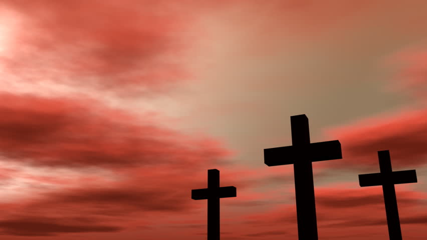 Three crosses with a time-lapse reddish cloudy sky. - HD stock video clip