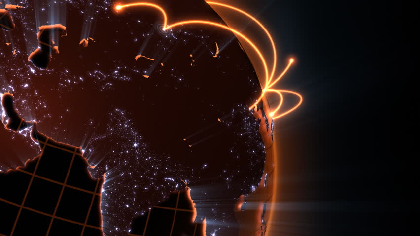 loopable 3d animation of a spinning globe with a growing global network - orange version - HD stock footage clip