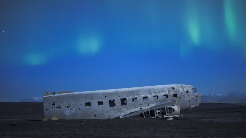 Timelapse footage of Plane wreck at Solheimasandur with Aurora