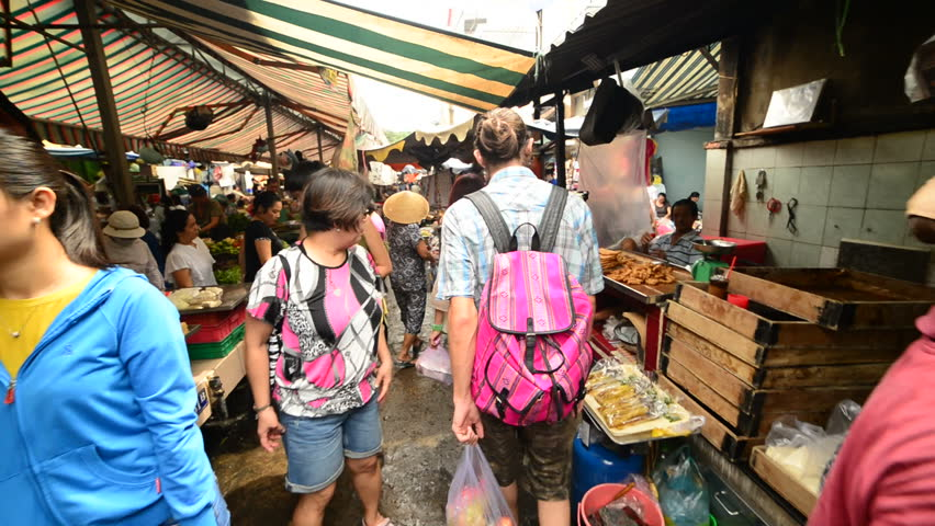 Ho Chi Minh City (Saigon) - Circa August 2014 - Walk Through of Busy Street Market in Pham Ngu Lao