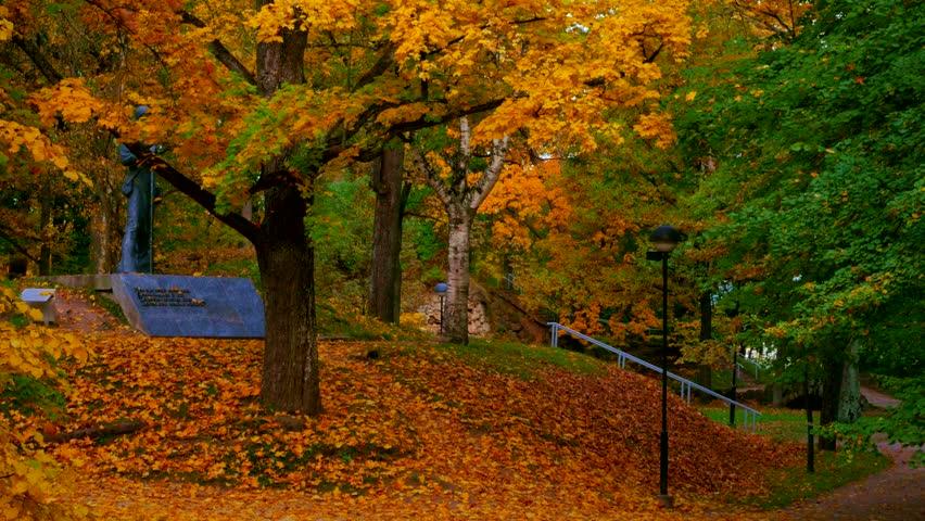 Beautiful autumn day on Toome Hill in Tartu, Estonia