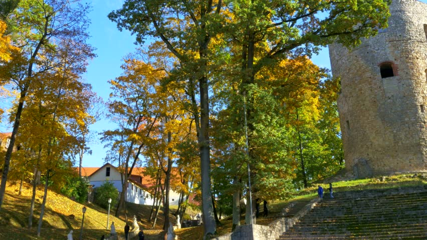 Autumn day in a park near Cesis castle , Latvia
