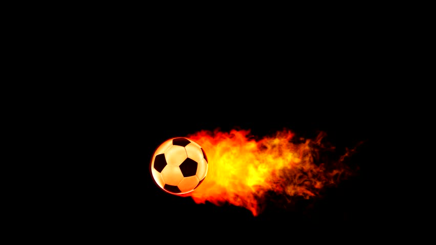 Soccer fireball in flames on black background, HD render with alpha channel