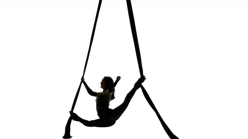 One caucasian woman exercising rhythmic gymnastics with ribbon in - Woman Dancer On Aerial Silk Aerial Contortion Aerial