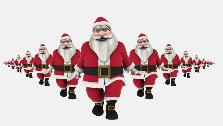 Group of Santa Claus are Hip Hop Dancing, waving at end. isolated, Transparent video, alpha matte included at end, Full HD - HD stock video clip
