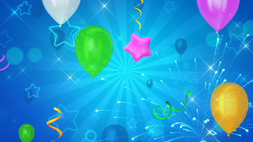 Balloons and stars on beautiful happy background. Seamless loop.