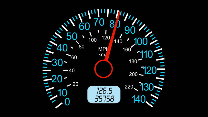 Speedometer on dirt track stock car racing
