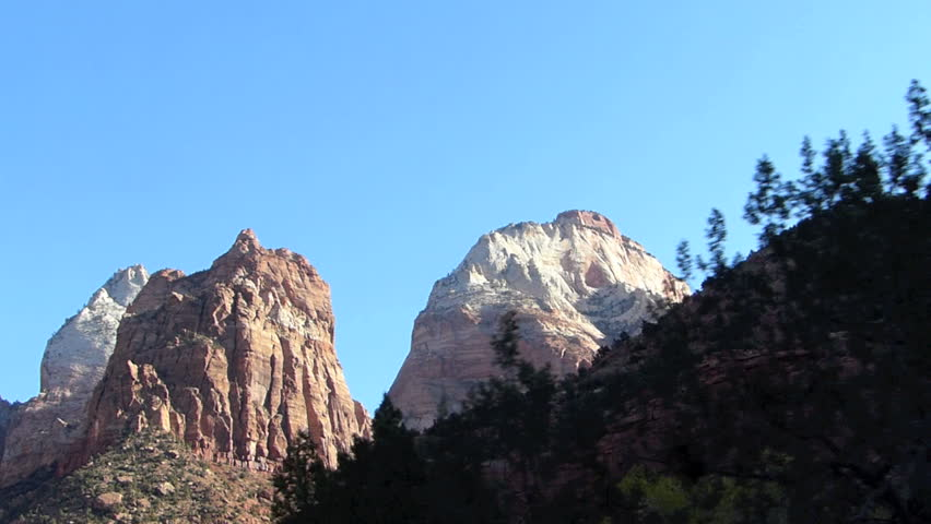 Dolly style shot taken while driving through  Zion National Park in Utah, United States of America.