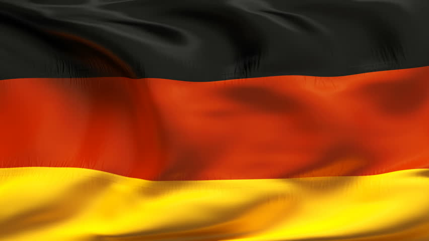Textured GERMAN satin cotton flag with wrinkles and seams - HD stock video clip
