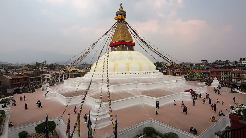 General view of the iconic Boudhanath Stupa in Kathmandu, Nepal. Boudhanath is the largest stupa in Nepal and the holiest Tibetan Buddhist temple outside Tibet. - HD stock footage clip