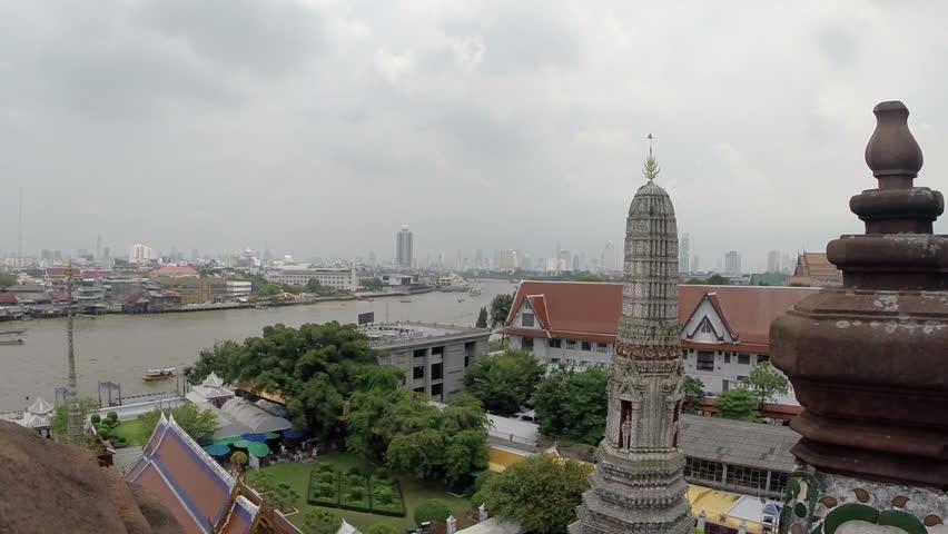 Bangkok River and Temple View.