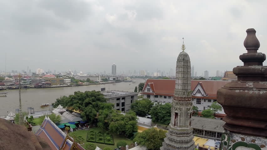 Bangkok River and Temple View.