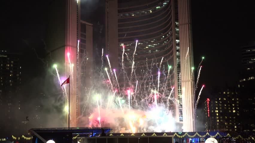 Fireworks display at Toronto City Hall during the Cavalcade of Lights.This festive event, a 48-year holiday tradition, features the illumination of a Christmas tree,  a fireworks show and skating