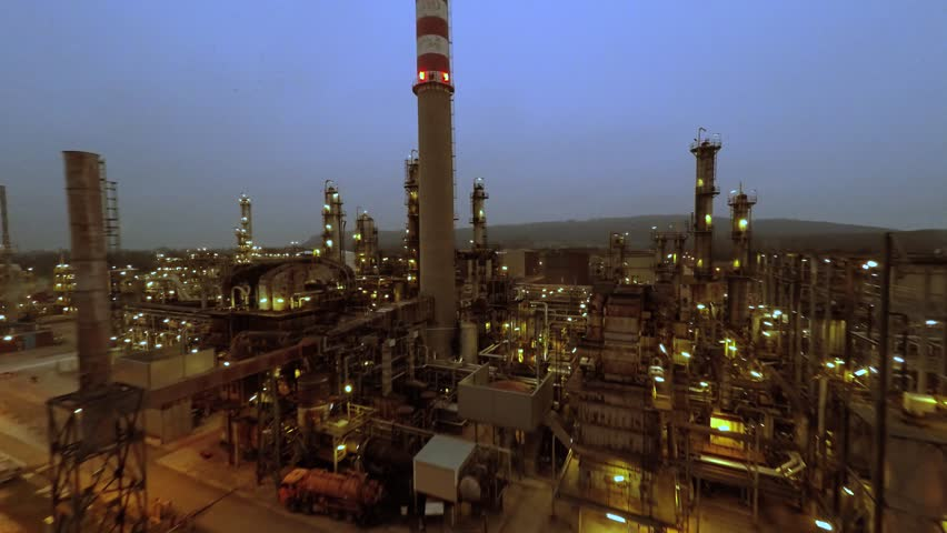 aerial view of industrial oil refinery plant station. gas industry background