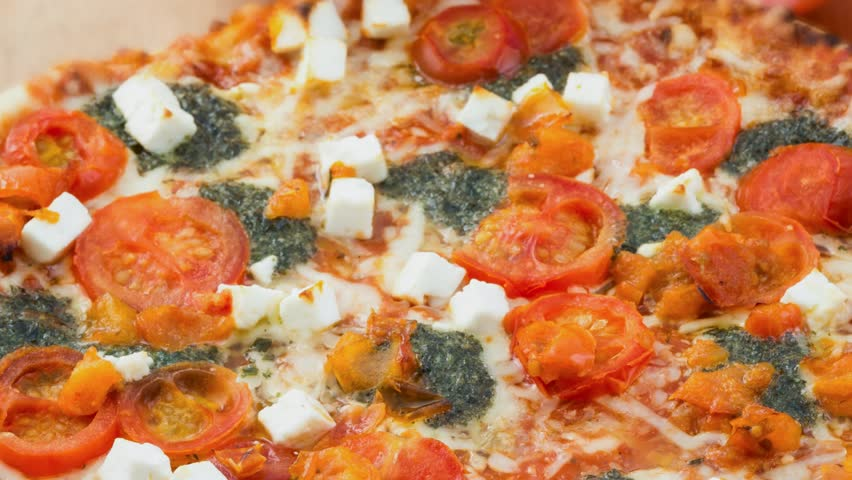 mixed pizza with mozzarella cheese, tomatoes,and spinach. Vegetarian ...