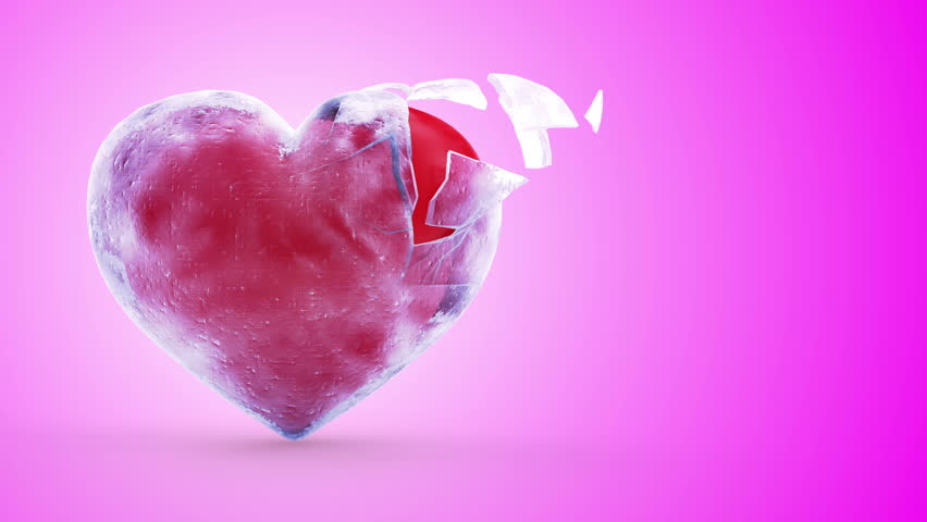 Animation of Frozen Red Heart Broken into Pieces on Pink Background. St Valentine's Day and Love Concept. HQ Video Clip