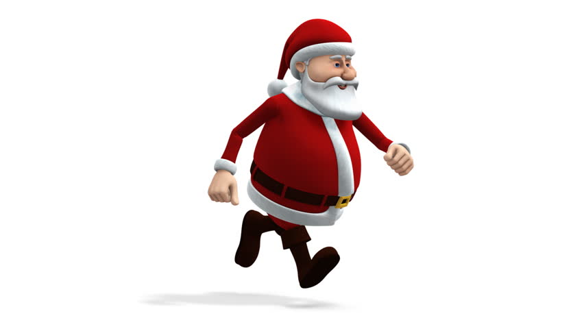 cartoon santa claus running - loopable 3d animation - alpha mask and separate shadow pass included - HD stock footage clip