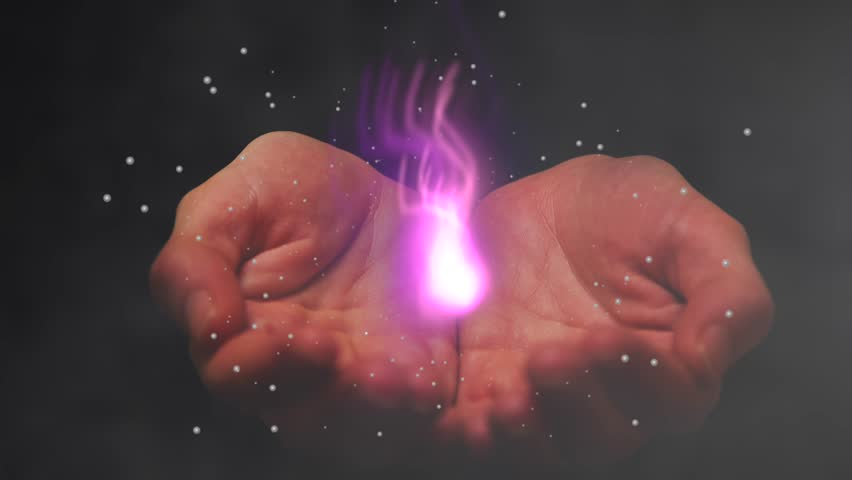 hands  holding  eternal pink flame  animation 4k
