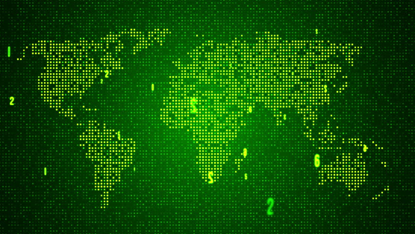 Digital Green World Map With Light Points. Loop Animation. Stock Footage Video 7462210
