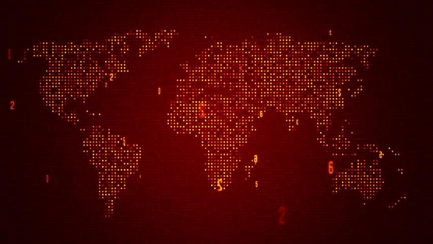 Digital Red World Map Loop. Five Colors In Portfolio. Stock Footage Video 7682788