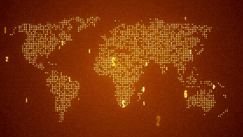 Digital World Map. Seamles Loop Animation. 4K. Orange Color. Other Color In My Profile. Stock