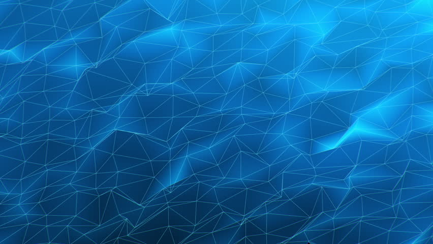 3D Looping Background - Blue polygonal network. High definition motion background for music videos, broadcast, television, film, editing, live visuals, VJ loops, youtube shows, or art installations.