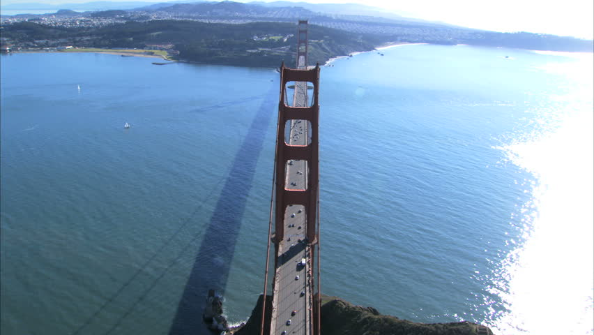 Aerial view of traffic on Golden Gate Bridge, San Francisco, USA - HD stock footage clip
