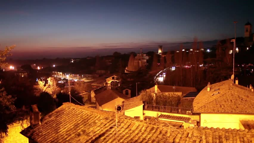 Video clip with view of Viterbo, Italy by night.