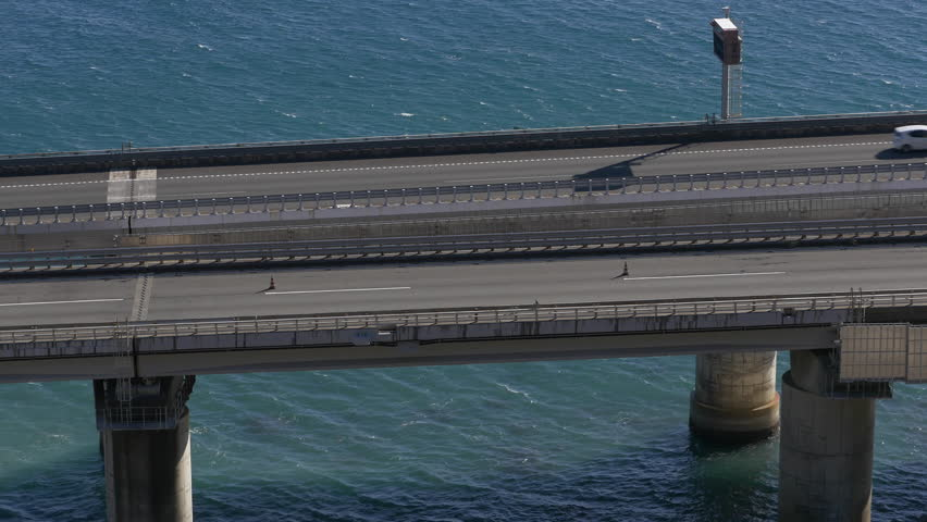 The Tomei Expressway, built on pilings in the sea in Yui, Shizuoka Prefecture, Japan.