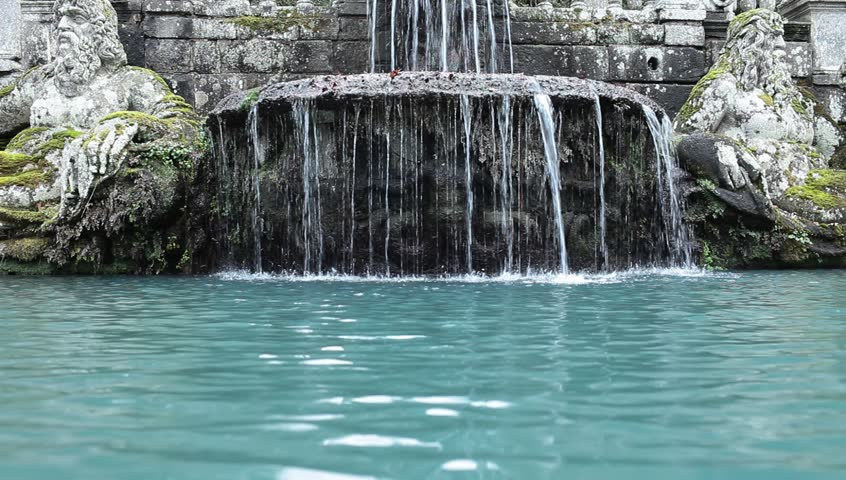 Video clip showing detail of the central part of The Giants Fountain in the garden of Villa Lante at Bagnaia, Viterbo province, Italy.