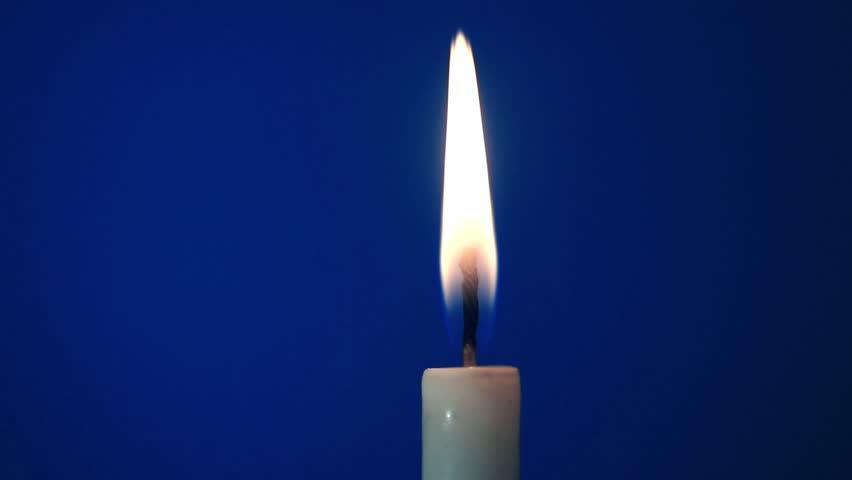 Blue candle white background