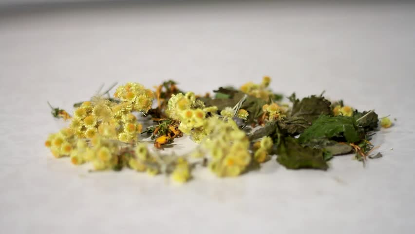 Dried healing plants mixed by hand