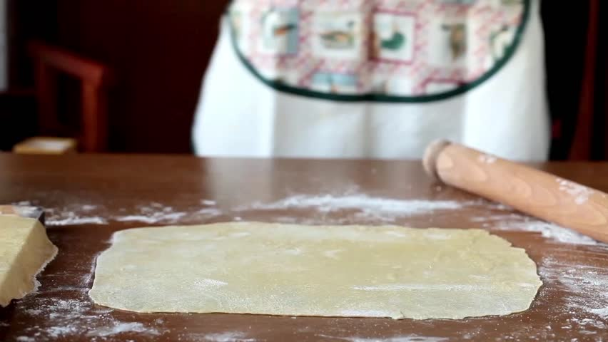 Video clip of woman placing small portions of meat and vegetables filling on the pasta sheet in order to prepare the agnolotti.