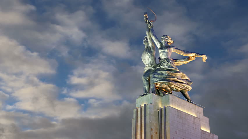 Animation: Famous soviet monument Rabochiy i Kolkhoznitsa ( Worker and Kolkhoz Woman or Worker and Collective Farmer) of sculptor Vera Mukhina, Moscow, Russia. Made of in 1937  - HD stock footage clip