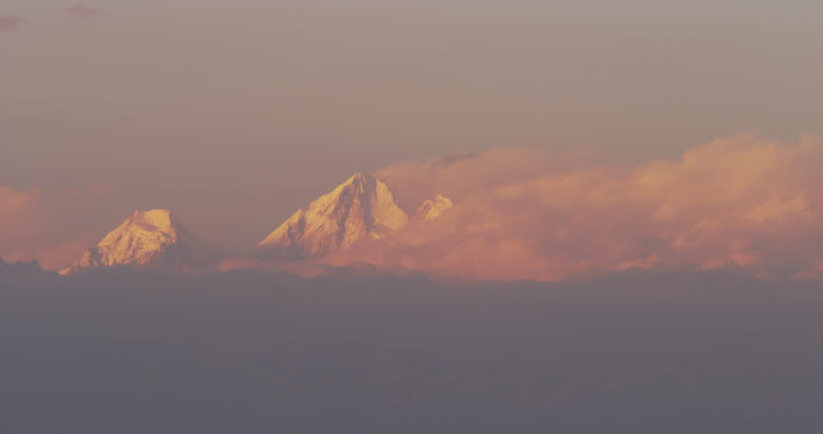 Time lapse of sunset at Dorje Lakpa (6966m), Lenpo Ghang (6979m) and the Gyalsen Peak (6151m) mountain range. Nagarkot is famous for it's beautiful views of the  Mount Everest. Shot on Red Scarlet.