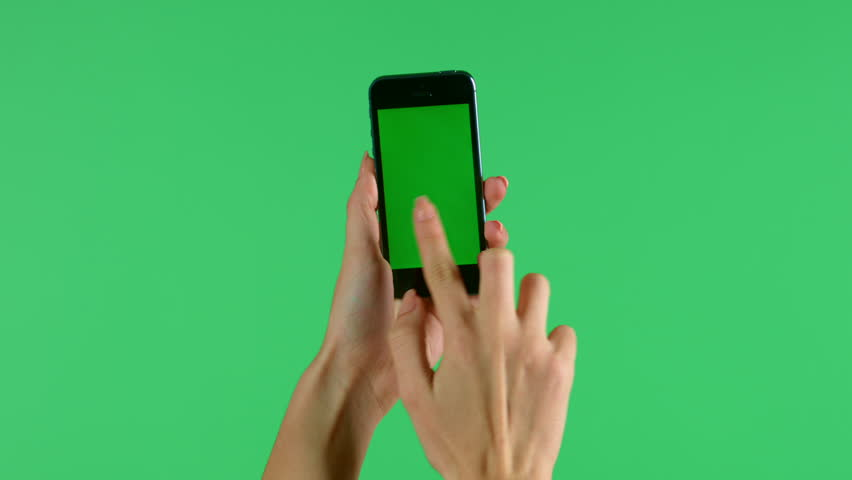 Smartphone touchscreen tap, swipe and spread hand gestures on green screen
