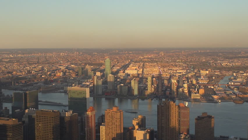 Amazing panorama f New York suburb with residential district, suburban area at sunset by day