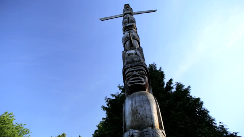 Indian Totem Pole Red Cedar sculpture Stanley Park North American First Nation culture Vancouver Canada - HD stock footage clip