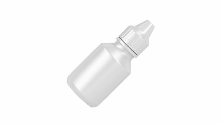 Eye drops bottle spin on white background