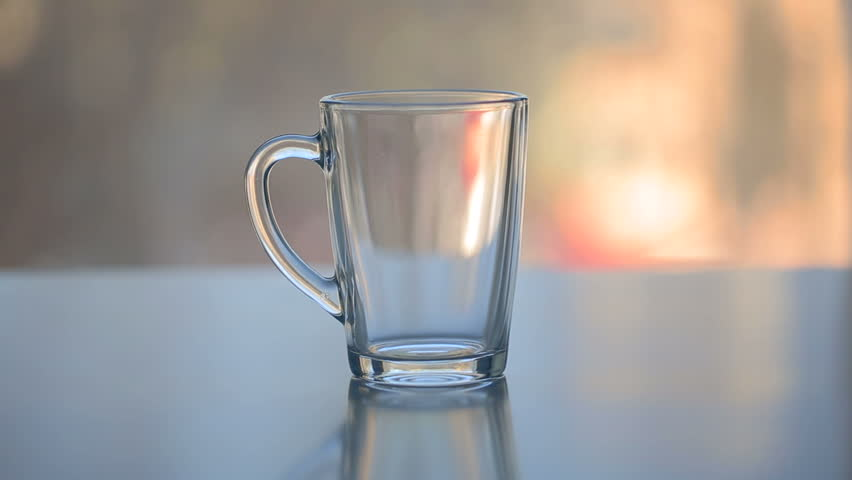 Hot Water Over Tea In Transparent Glass Cup Stock Footage ...