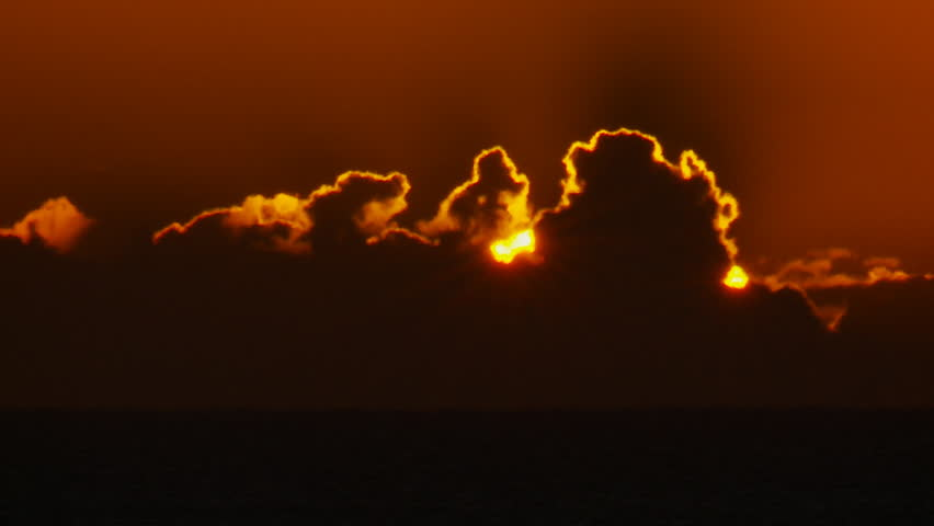 Closeup Sunrise Over Ocean Time Lapse - HD stock video clip