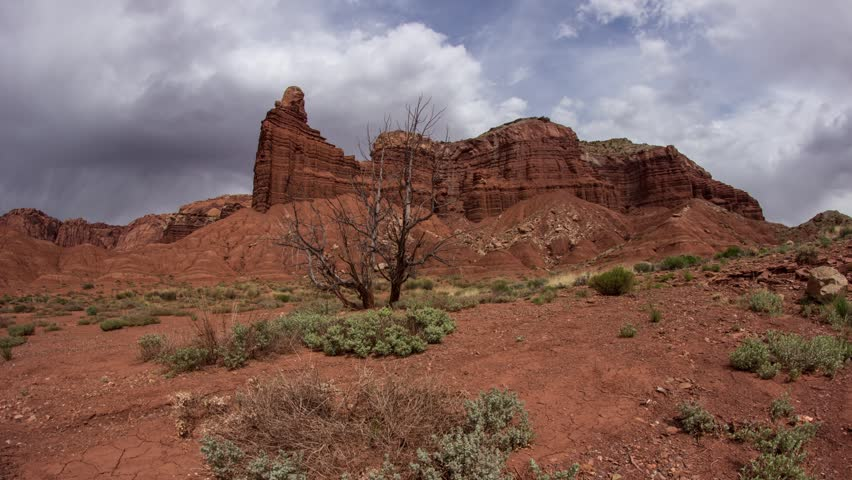 Time laspe of storm approaching in Capitol Reef National Park in Torrey, Utah