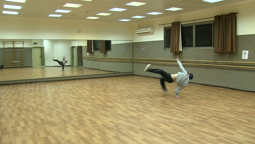 Break Dancer trains in the gym