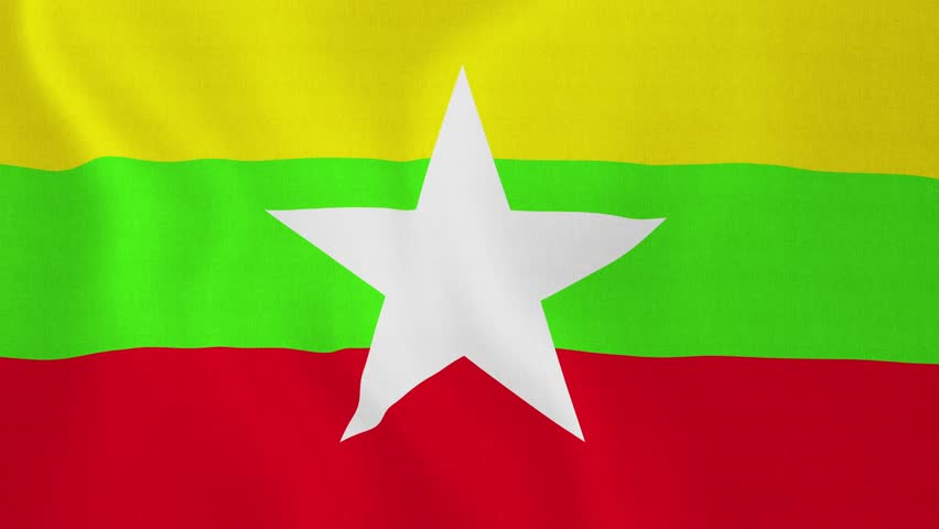 [loopable] Flag of Myanmar. Myanmar official flag gently waving in the wind. Highly detailed fabric texture for 4K resolution. 15 seconds loop. Source: CGI rendering. Clip ID: ax603c - 4K stock footage clip